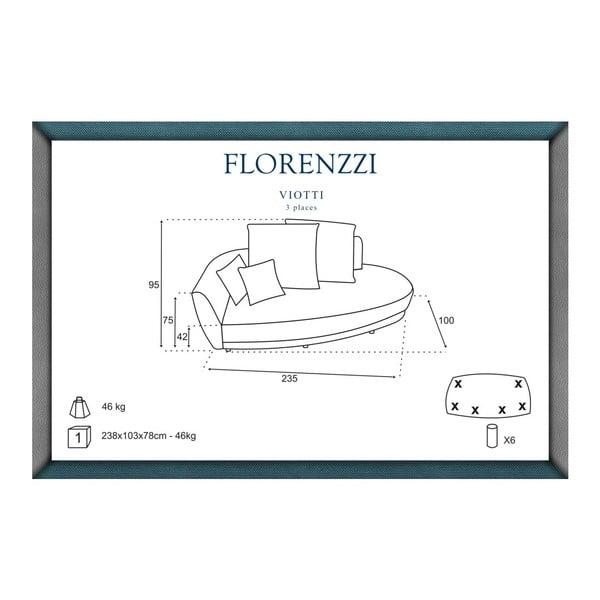 Svetlosivá pohovka pre troch Florenzzi Viotti s operadlom na ľavej strane