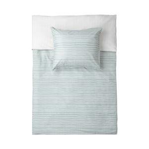 Bielo-zelené flanelové obliečky na jednolôžko Walra Luton, 135×200cm