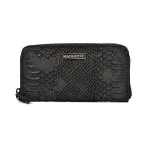 Čierna kožená listová kabelka Mangotti Murielle
