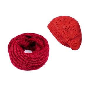 Červená čiapka so šálom Lavaii Winter