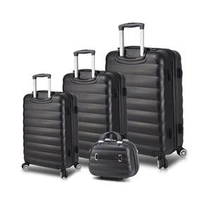 Sada 3 čiernych cestovných kufrov na kolieskach s USB porty a príručného kufríka My Valice RESSO Travel Set