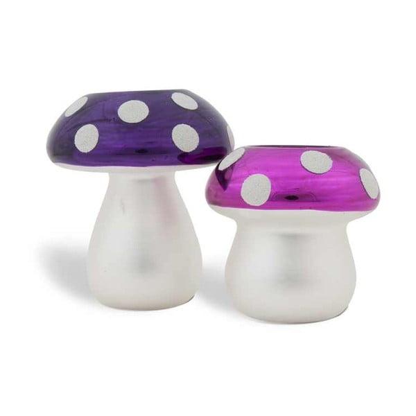Sada 2 svietnikov Mushrooms