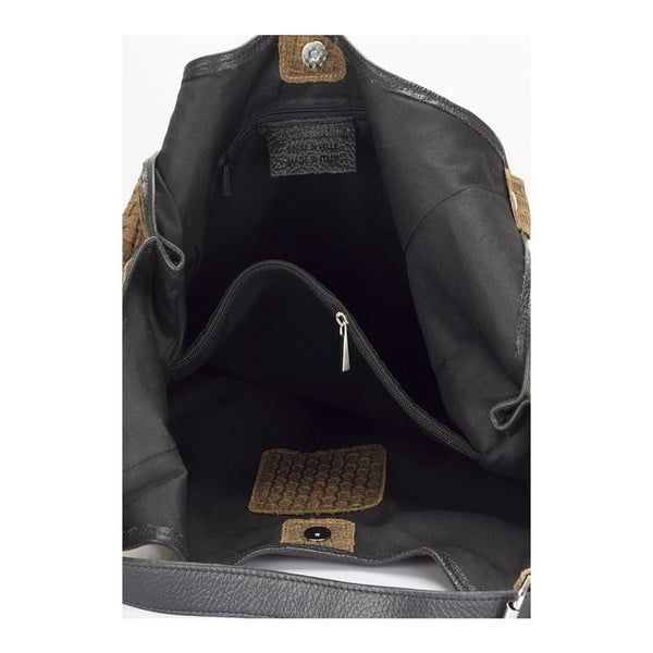 Koňakovohnedá kožená kabelka Giulia Massari Nidia