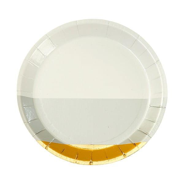 Sada 8 papierových tanierov Talking Tables Metalic