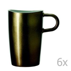 Sada 6 hnedých metalických hrnčekov na macchiato LEONARDO Loop, 365 ml