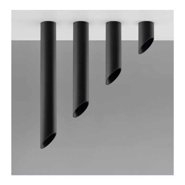 Čierne stropné svetlo Nice Lamps Nixon, dĺžka 60 cm