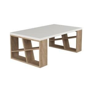 Konferenčný stolík v dekore dubového dreva s bielou doskou Honey Light