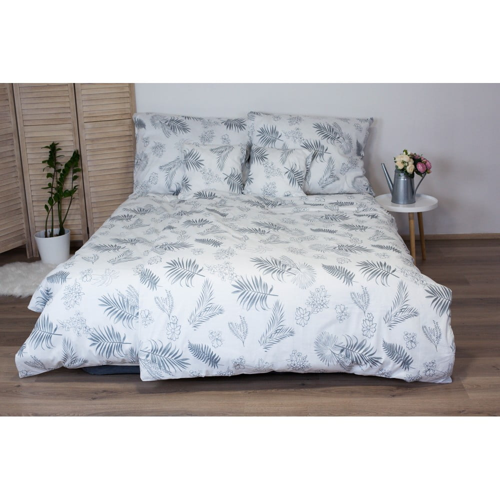 Bielo-sivé bavlnené posteľné obliečky Cotton House Leafs, 140 x 200 cm