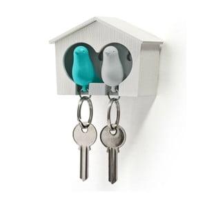 Búdka s kľúčenkami Qualy Duo Sparrow, biela búdka+modrá kľúčenka