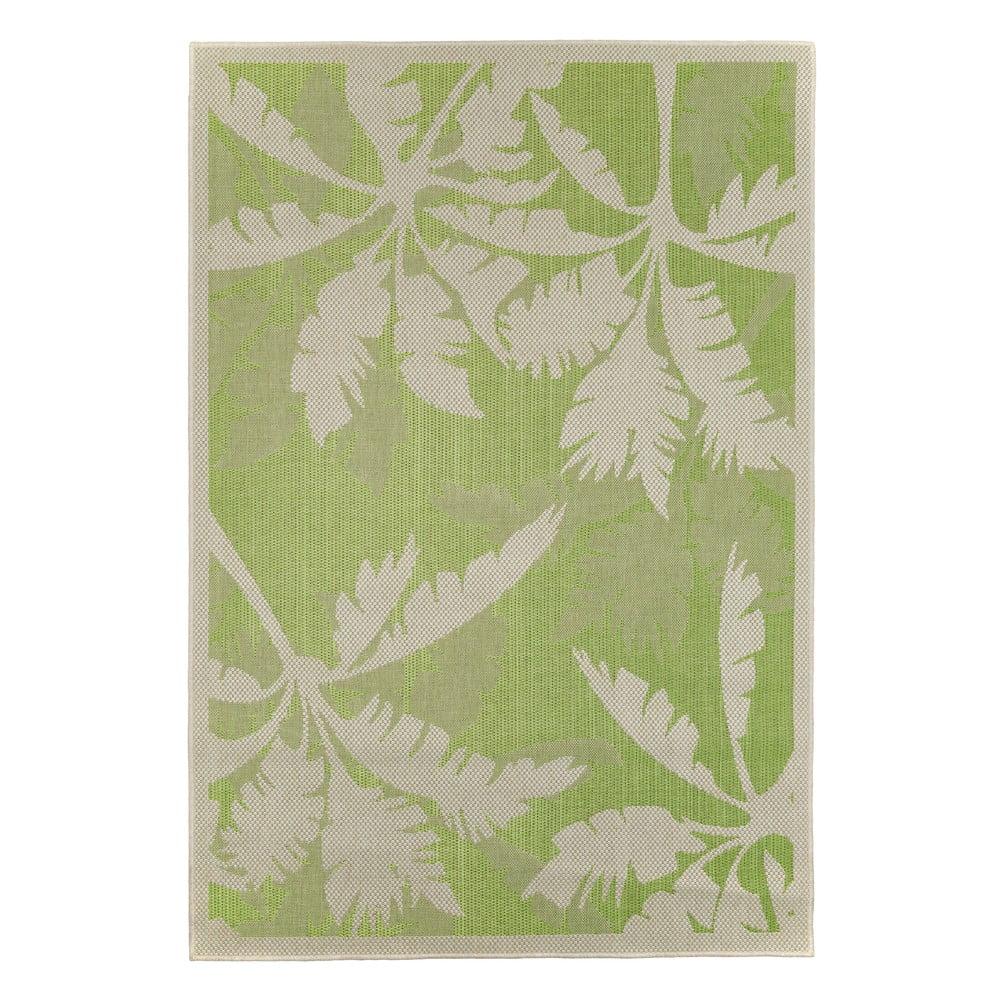 Zeleno-béžový vonkajší koberec Floorita Palms Green, 135 x 190 cm