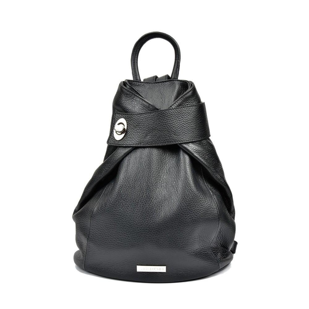 Čierny kožený batoh Anna Luchini Makna