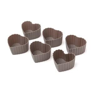 Sada 6 silikónových foriem na muffiny Grey Hearts