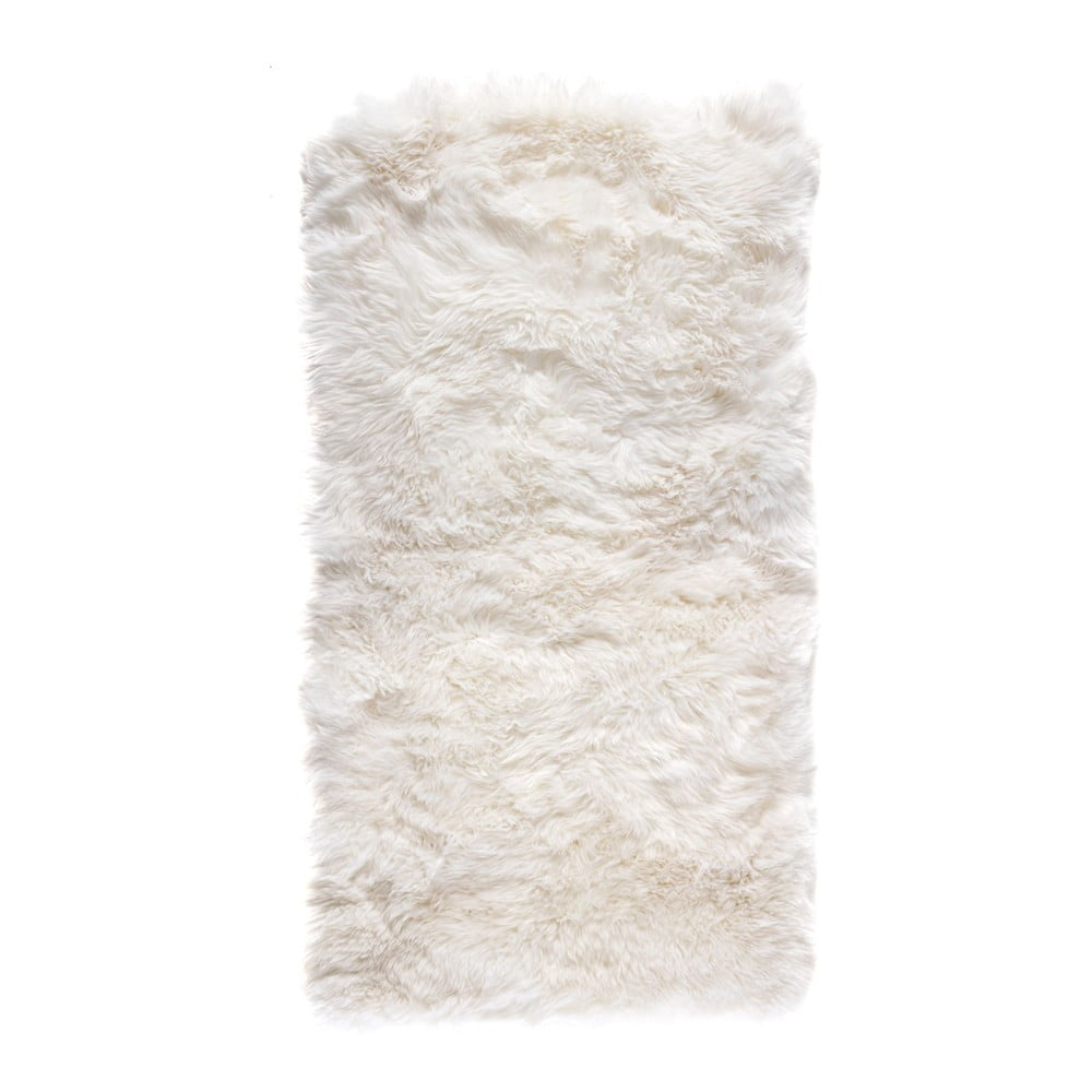 Biely obdĺžnikový koberec z ovčej vlny Royal Dream Zealand, 140 × 70 cm