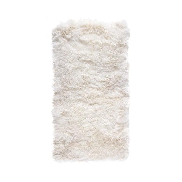 Biely koberec z ovčej kožušiny Royal Dream Zealand, 140 x 70 cm