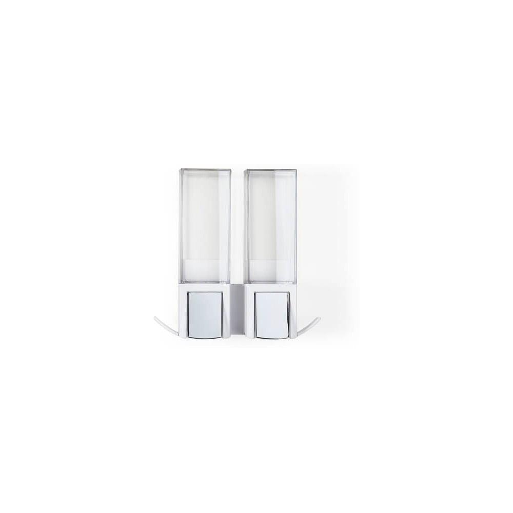 Biely nástenný samodržiaci dvojitý dávkovač na mydlo Compactor Clevek Double Dispenser
