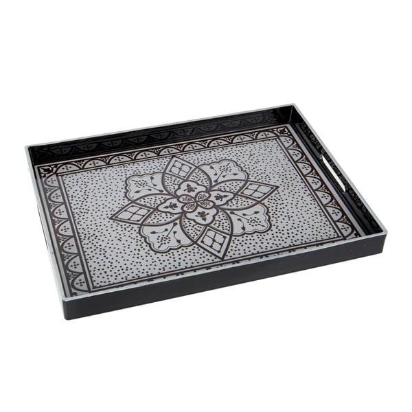 Plastový podnos, 48x4 cm, čierno-biely