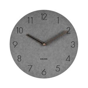 Sivé nástenné drevené hodiny Karlsson Dura, Ø29cm