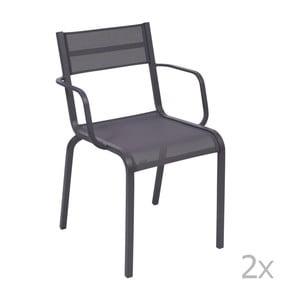 Sada 2 modrofialových kovových záhradných stoličiek Fermob Oléron Arms