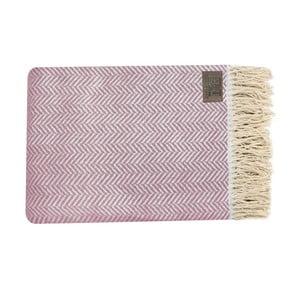Ružový bavlnený pléd Zig, 130x170cm