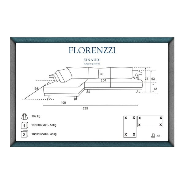 Tyrkysová pohovka Florenzzi Einaudi s leňoškou na ľavej strane