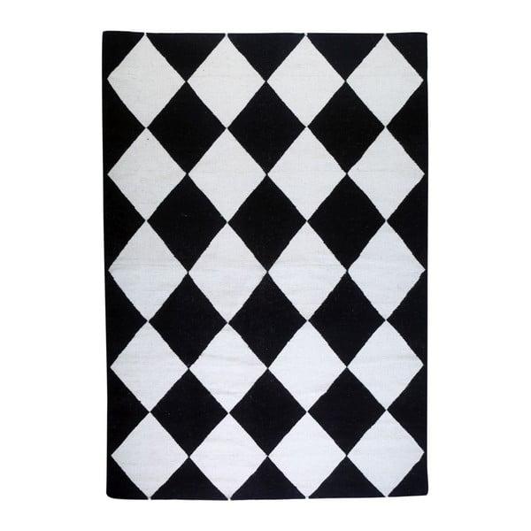Vlnený koberec Geometry Classic Black & White, 160x230 cm