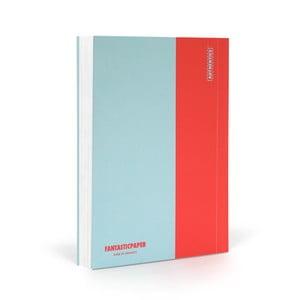 Zápisník FANTASTICPAPER A6 Skyblue/Warm Red, čistý