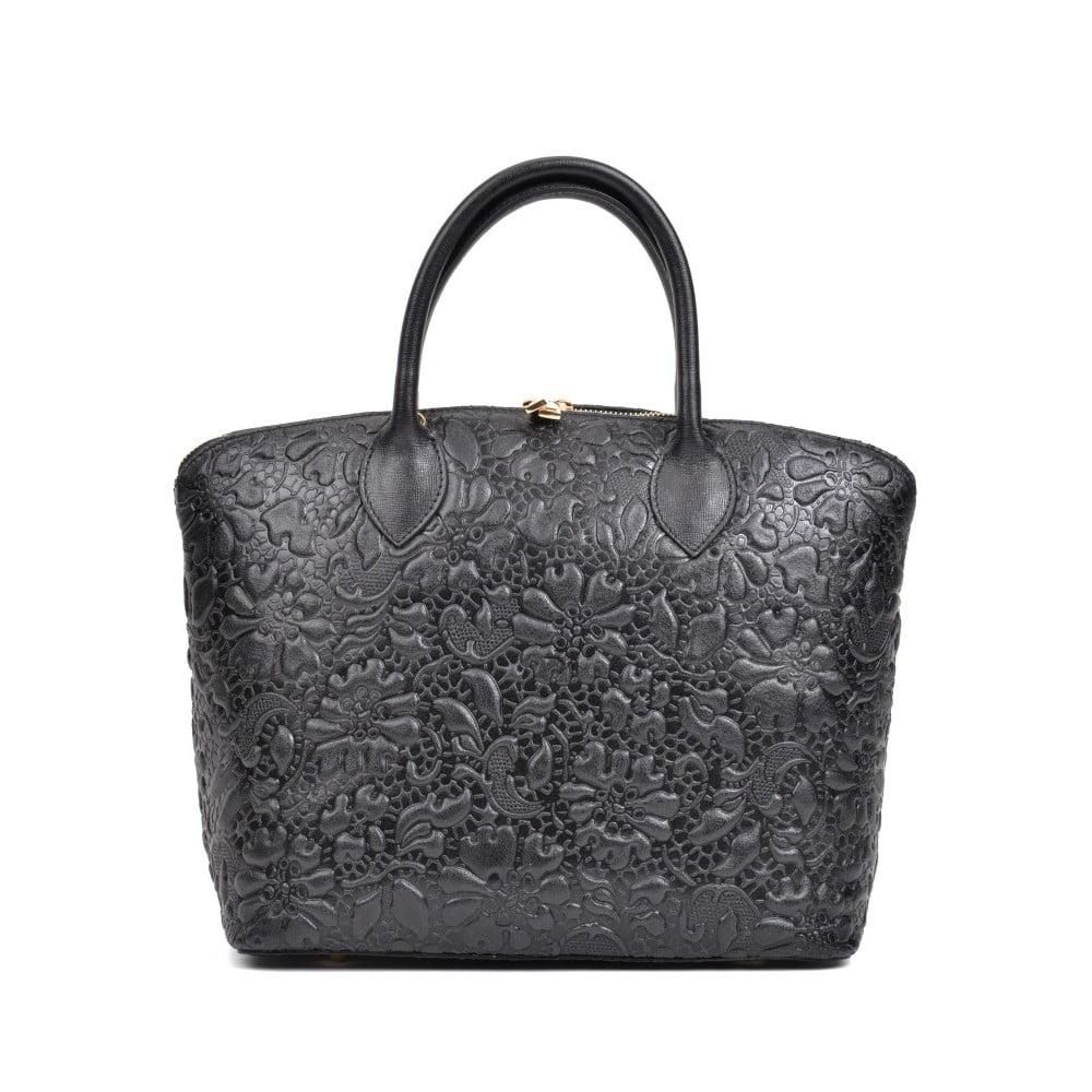 Čierna kožená kabelka Anna Luchini Bloom Nero