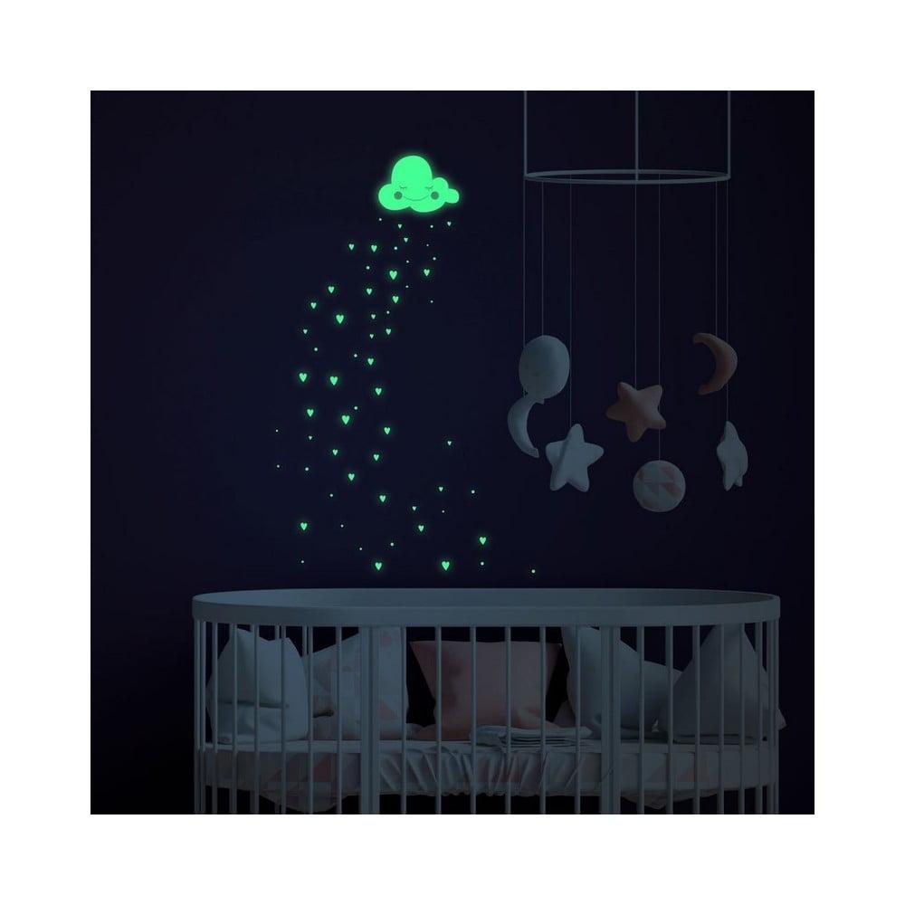 Svietiace samolepky na stenu Ambiance Hearts and Clouds