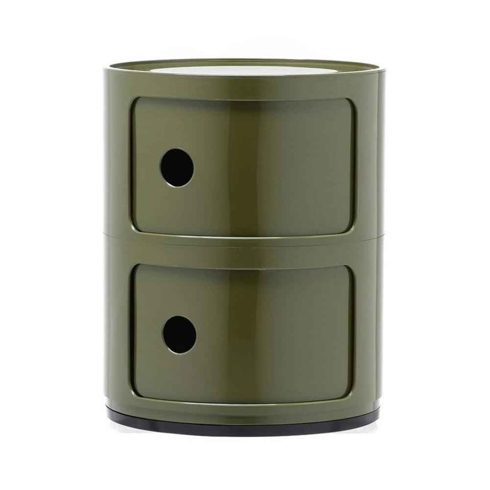 Zelený kontajner s 2 zásuvkami Kartell Componibili