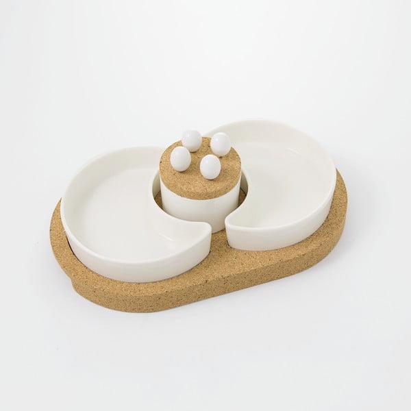 Servírovacie misky s korkovým podnosom Cork, 31 x 19 cm