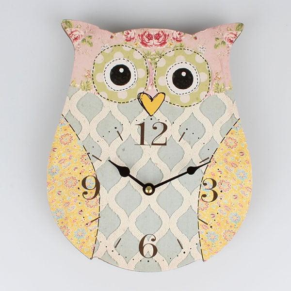 Drevené hodiny Cute Owl, 22,5x27,8 cm