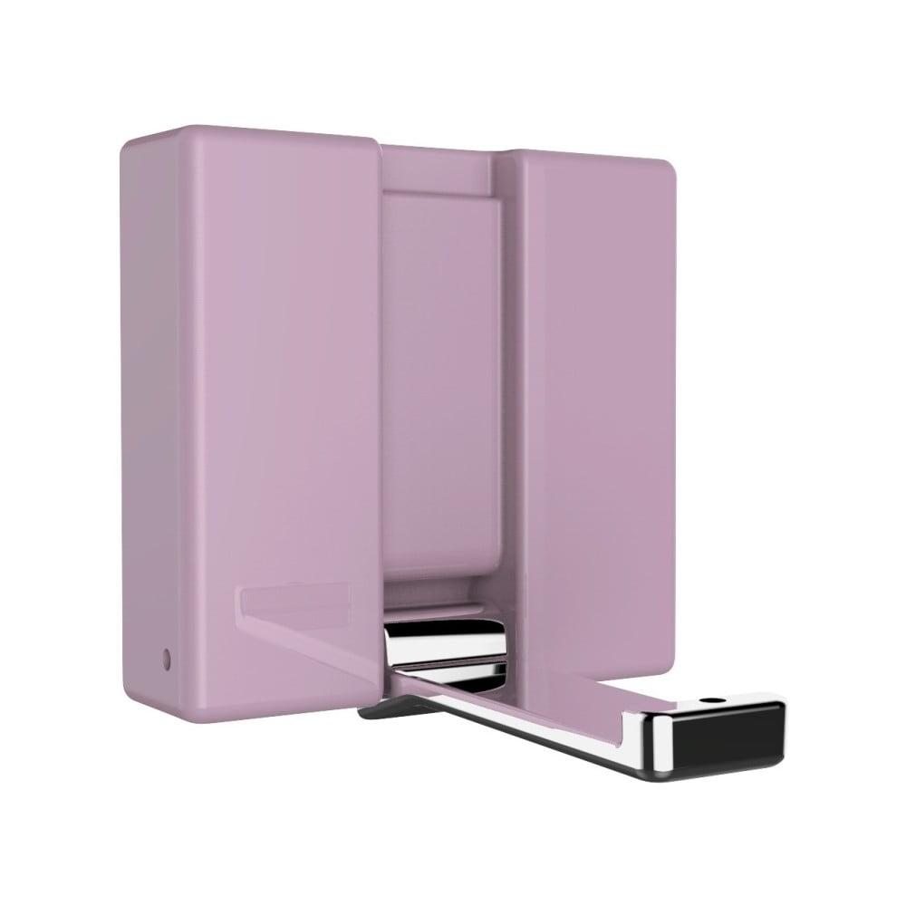 Ružový nástenný skladací háčik Wenko Basic ALPHA
