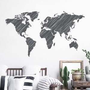 Nástenná samolepka Ambiance World Map Pencil Stroke