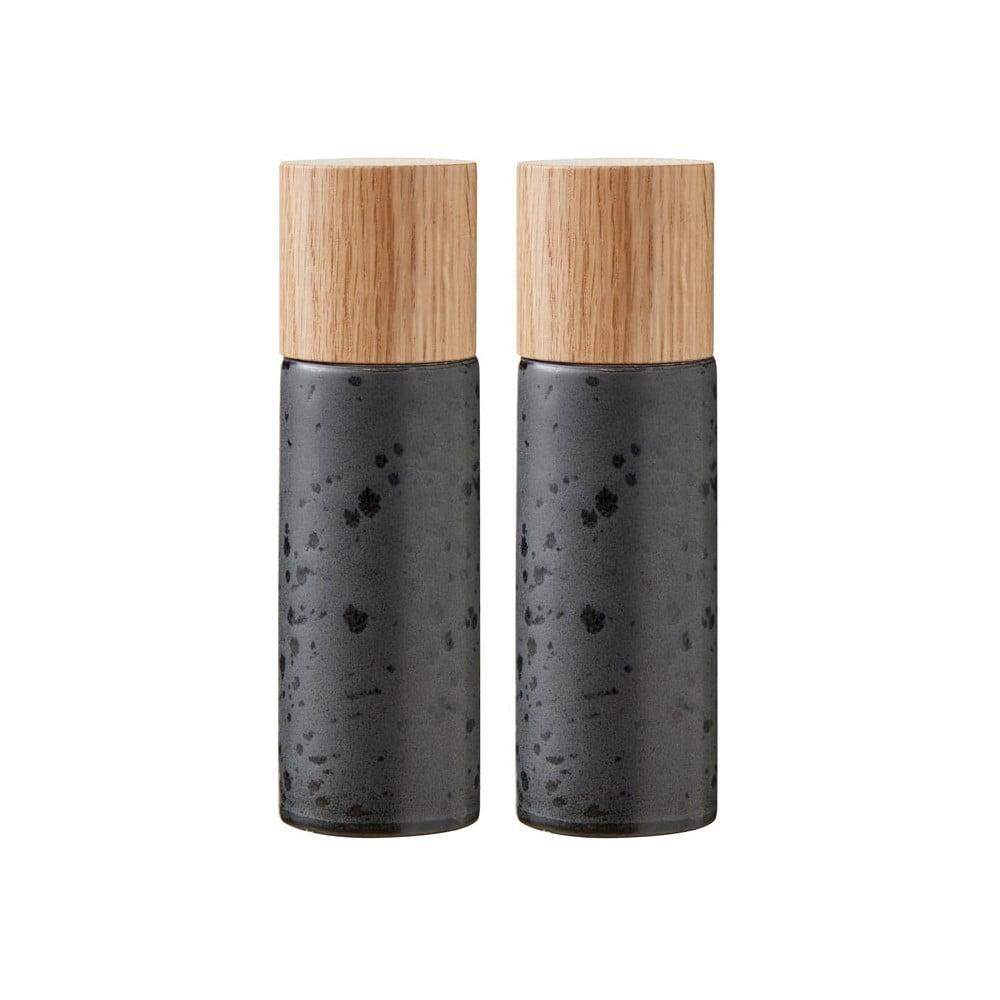 Sada 2 čiernych kameninových mlynčekov na soľ a korenie Bitz Basics Black