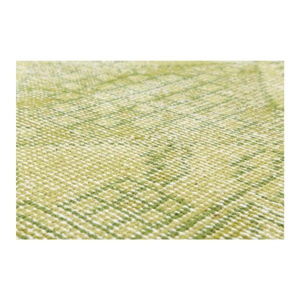 Limetkový ručne viazaný vlnený koberec Sentimental,140x200cm