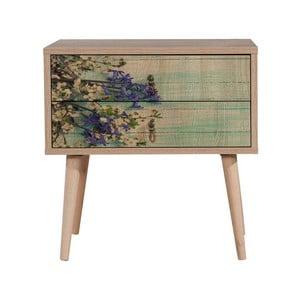 Drevený nočný stolík Iris Flowers