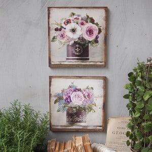 Nástenná dekorácia Purple Flowers, 2 ks