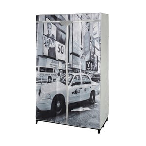 Sivá textilná skriňa na šaty Jocca New York Taxi, 156 x 87 cm