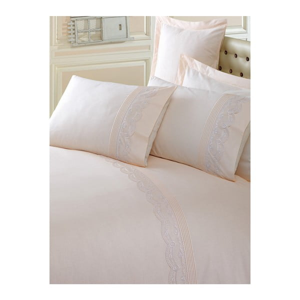 Svetlohnedé obliečky z bavlny s plachtou Brode, 200×220 cm