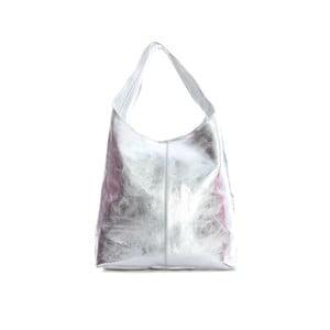 Kožená taška na rameno v striebornej farbe Sofia Cardoni
