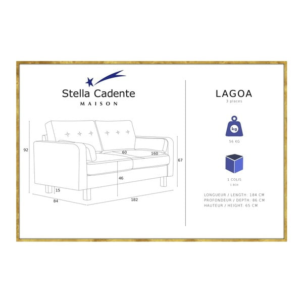 Zelenožltá trojmiestna pohovka Stella Cadente Maison Lagoa