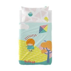 Set plachty a obliečky na vankúš z čistej bavlny Happynois Kiting, 120×180 cm