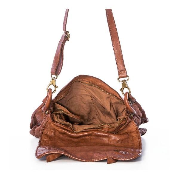 Kožená kabelka Federica Bassi Messenger, béžová