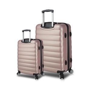 Sada 2 ružových cestovných kufrov na kolieskach s USB porty My Valice RESSNO Cabin & Large