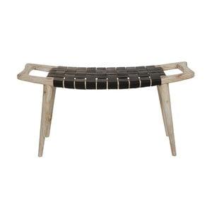 Čierna stolička z dreva mindi a kravskej kože Santiago Pons Tony