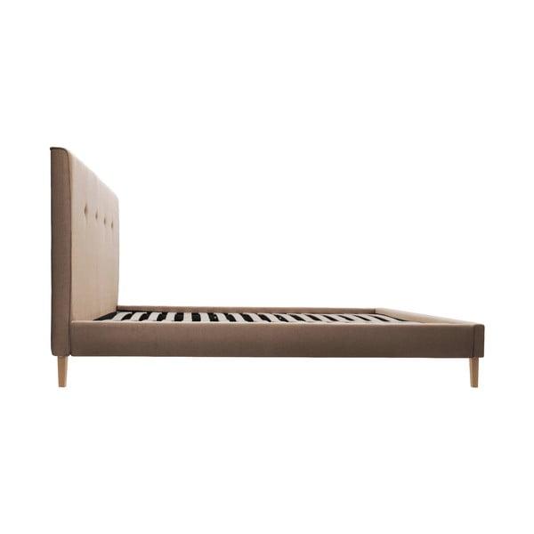 Svetlohnedá posteľ VIVONITA Kent 160x200cm, prírodné nohy