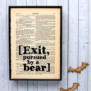Plagát v drevenom ráme Shakespeare Exit