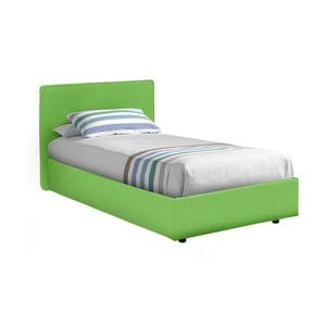 Zelená jednolôžková posteľ s poťahom z bavlnenej textílie 13Casa Ninfea, 80x190cm
