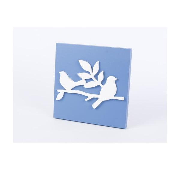 Drevený obraz Birds 30x30 cm, modrý