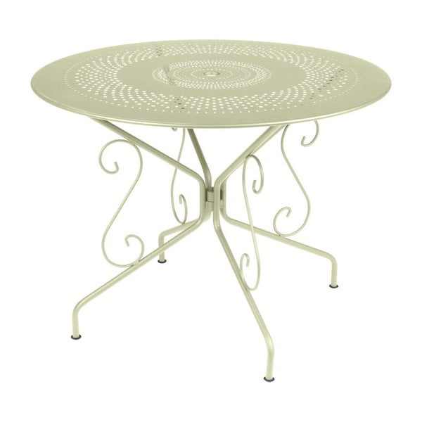 Zelenkavý kovový stôl Fermob Montmartre, Ø96cm